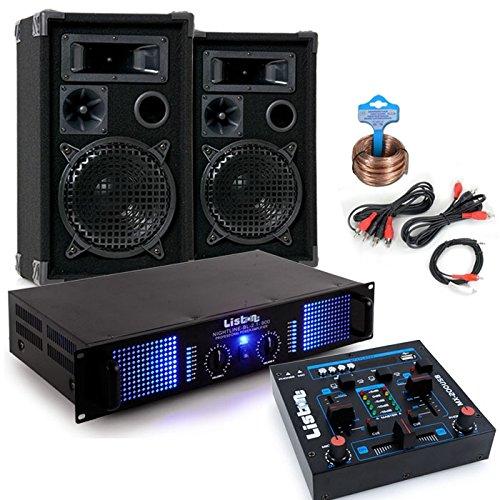 2400 Watt PA Kompakt Musik Anlage Verstärker Boxen USB MP3 Mixer DJ-Party 7