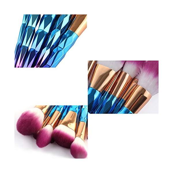 Juego de 10 Brochas de Maquillaje, Pinceles de Maquillaje Profesional de Cerda de Fibra Sintética Suave Brochas Cosméticas de Unicornio Cepillos de Maquillaje para Mujeres