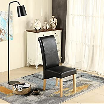 WestWood Dining Chairs Furniture Set of 6 Premium Black Faux Leather Roll Top Scroll High Back with Solid Wood Legs Foam Padded Seat Contemporary Modern Look