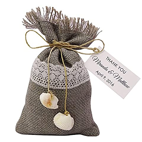 20 Party Favor Sack Drawstring Pouches Beach Wedding Favor Bags Rustic With Custom Paper Tag Small Jute Bags 4