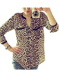 Mujer Moda Estampado de Leopardo, ❤️Ba Zha Hei Blusas de Manga Larga Túnica Slim