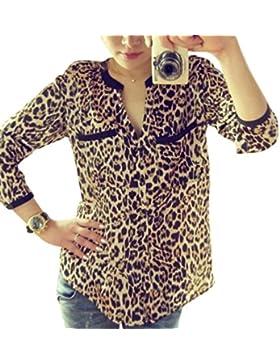 Mujer Moda Estampado de leopardo, ❤️Ba Zha Hei Blusas de manga larga Túnica Slim Fit Cuello Redondo Sólida Camiseta...