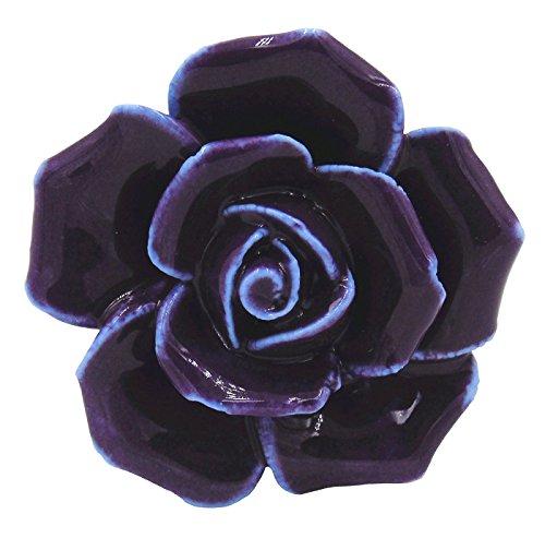 tecrio 2pcs-pack Keramik Vintage Floral Rose Dresser Schrank Küche Schrank deawer Knöpfe Griff Decor zieht w/Schrauben, violett