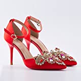 SHOESHAOGE Chinese Wedding Shoes with Red Bride Shoes Show Wo Shoes Rhinestone Sandals Summer Hollow with A Word Buckle Heels Eu35 Sandalen Für Damen