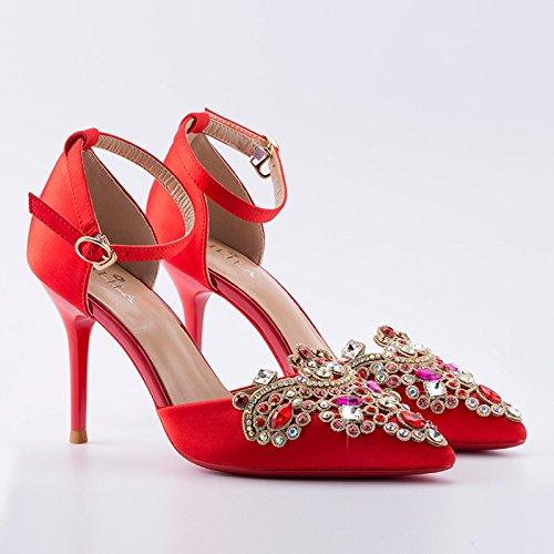 SHOESHAOGE Chaussures De Mariage Chinois Rouge Avec Bride Show Chaussures Chaussures Sandales Strass Ne Creuse De L'Été Avec Un Mot Talons Boucle Couleur unie