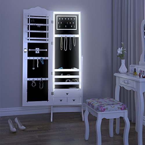 spiegelschrank schmuckschrank standspiegel wei schmuck schrank spiegel led. Black Bedroom Furniture Sets. Home Design Ideas