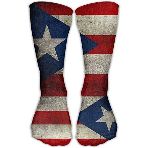 CVDGSAD Retro Puerto Rico Flag Long Outdoor Socks High Casual Sock Unisex