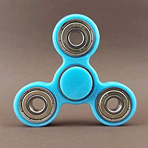 Fidget Spinner Brass Hand Toy Finger Pocket Desktoy ADHS Stress 3D Druck (Star, Hellblau)