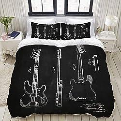 SnowXXL Parure de lit Adulte,Housse de Couette,Fender Bass Patent - Art de la Guitare Fender,1 Housse de Couette 220 x 240cm + 2 Taies d'Oreillers 50 * 75 CM