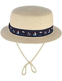 EOZY Sombrero de Paja de Sol Niño Niña Redondo Hat Verano Viaje ed0585d96a8