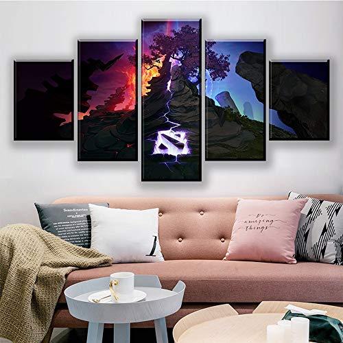 Agreey Modulare Bilder Leinwand 5 Panel Dota 2 Spiel Malerei Wandkunst Poster Drucken Moderne Wohnzimmer Dekoration Kinderzimmer Rahmen, Mit Rahmen, 20X35 20X45 20X55 cm - 1 Dota