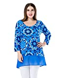 Chicwe Womens Floral Printed Plus Size Tunic Top with Chiffon Hem UK16-30