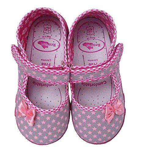 Schleife Grau Hausschuhe Rosa M盲dchen Ballerinas Innensohle Pink Renbut Leder Sandalen Sterne Baumwolle aus FYCxq