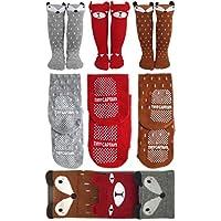 Baby Girl Knee High Socks Non Slip Toddler Socks 6-24 Months Anti Skid Walker Baby Socks Gift Set, Best Gifts for 1 Year Old Girl from Tiny Captain (Small, Brown, Red, Grey)