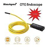Cámara Endoscopio Blueskysea 3.5M OTG USB Boroscopio Endoscopio HD 2MP 720P 5.5mm Cámara de Inspección IP67 Impermeable con 6 LED Ajustable para Andorid y IOS Smartphone (3.5M/5.5mm)