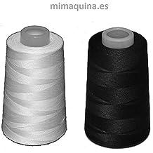 2 conos de hilo de poliester, especiales para máquinas de coser y remalladoras (1 blanco + 1 negro) muy buena calidad