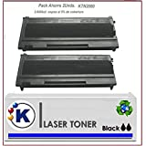 Pack 2 KTN2000 Cartucho de Toner Reciclado, Reemplaza a Brother TN 2000 Reciclado Impresoras Compatibles: Brother hl2030 /hl2040 /hl2070 /hl2820 /hl2825 /hl2920 /mfc7225 /mfc7420 /mfc7820 /dcp7010 /dcp7025 /dcp7225 /Fax2820 /2825 /2920