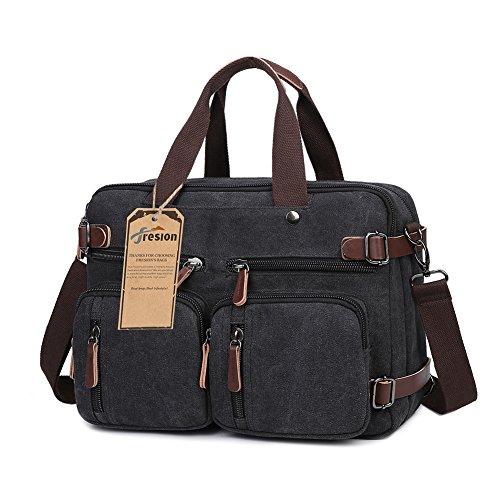 Fresion Canvas Arbeitstasche Rucksack Damen Herren Retro Business Rucksäcke Lässiger Daypacks Schultasche Laptoprucksack für Laptop / Notebook 14 Zoll 38,5×13×28,5cm Schwarz (Canvas-notebook-rucksack)
