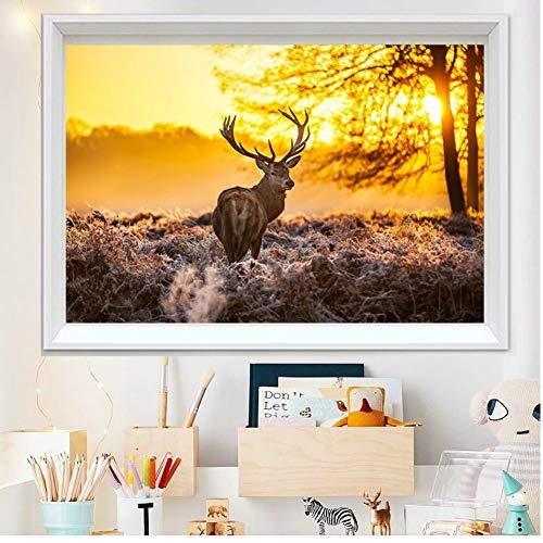 Happy Deer Forest Animal 14ct 11CT Leinwand Naht, Stickerei, DIY DMC Kreuzstich-Kits, Muster, 11ct size40x60cm -
