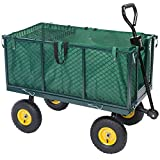 Deuba - Remorque de transport 4 roues • chariot avec bâche amovible et panier métallique • charge max. 300 KG - jardin jardinage