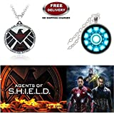 (2 Pcs AVENGER SET) - AGENTS OF S.H.I.E.L.D (LARGE) & IRON MAN ARC REACTOR (SMALL) 3D GLASS DOME IMPORTED PENDANTS. LADY HAWK DESIGNER SERIES 2018. ❤ ALSO CHECK FOR LATEST ARRIVALS - NOW ON SALE IN AMAZON - RINGS - KEYCHAINS - NECKLACE - BRACEL