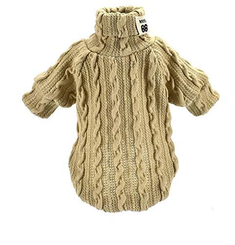 probeninmappx Hundeweste Haustier Rollkragenpullover-Kleidungs-Kleidungs-weicher Mantel-Jacken-Overall für Teddy Chihuahua, Khaki