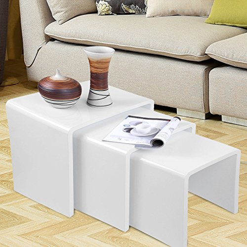 Voilamart White Nest Of 3 Tables High Gloss Nesting Tables White