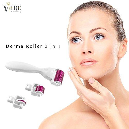 Derma Roller, VereBeauty Beautyroller für die Pflege der Gesichtshaut, 3in 1, für eine Schönheitsmassage zu Hause. Hilft gegen Falten, Dehnungsstreifen, Akne, Haarausfall und vergrößerte Poren, mit Reise- und Aufbewahrungsetui
