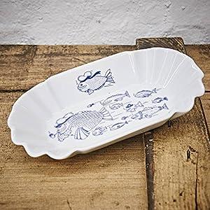 Pommesschale Porzellan - Handgemacht von Ahoi Marie - Motiv Fischschwarm - Maritime Currywurst-Schale original aus dem Norden