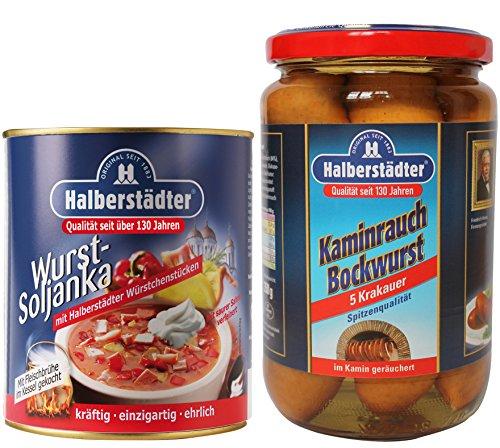 Halberstädter Wurst Soljanka + Kaminrauch Bockwurst Krakauer