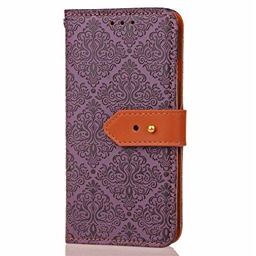 Für Samsung Galaxy J7 Prime Cover Case Mural Pattern Embossed Blumen Horizontal Flip Stand Case PU Leder Wölbung Abdeckung Fall mit Karte Bargeld Halter & Lanyard ( Color : Rose Gold ) Purple