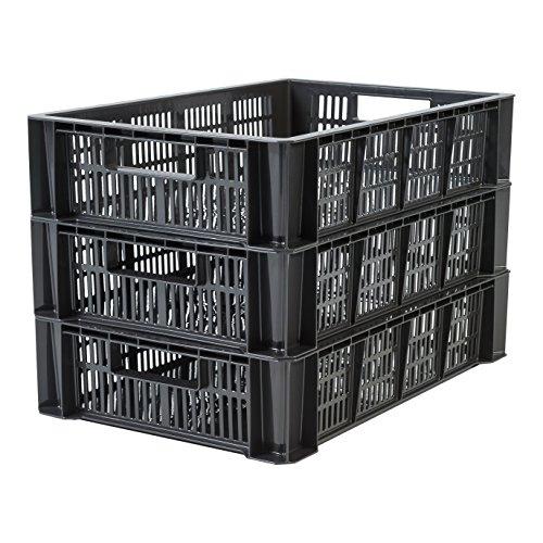 IRIS, 3er-Set stapelbare Lagerkästen / Stapelboxen / Gewerbekisten / Transportboxen 'Stacking Box', STB-LD, Plastik, schwarz, 36 L, 55 x 35 x 24,5 cm -