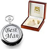 Best Man Gift, Engraved Mother of Pearl Pocket Watch with Pewter 'Best Man' Case in a Wood Box
