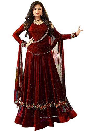 Aryan Fashion Women's Georgette Anarkali Salwar Suit Set (Tghvd11065_Maroon)