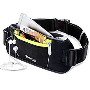 FREETOO Lightweight Running Belt with 2 Zipped Pockets & Headphone Hole Holds All Mobile Phones Size Below 5.5 inch & Acessories Fits for Traveling Hiking Dog Walking
