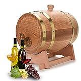 EBTOOLS Eichenfass, 3L/5L Holzfass Weinfass Whiskyfass Schnapsfass Eichenholz-Weinfass, Anzug für Whisky Bourbon Tequila (3L)