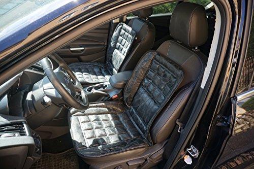 Preisvergleich Produktbild ECHT LEDER Universal Sitzbezug Sitzauflage Schonbezug schwarz super bequem