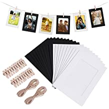 VORCOOL WINOMO Marcos de Fotos de Papel Kraft Colgando Decoración de Pared con Clips y Cuerdas