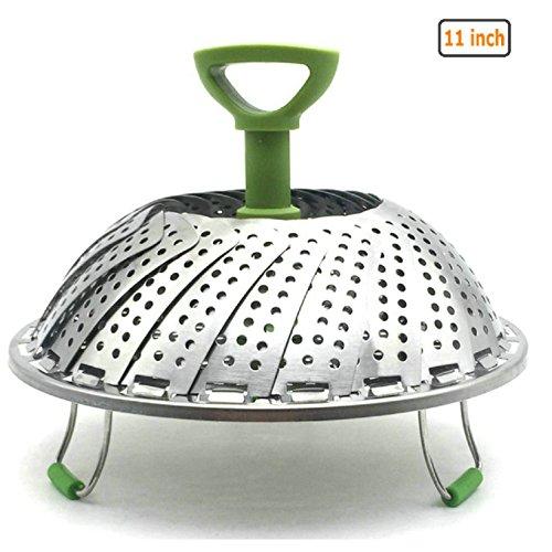Gudoqi cestello per vapore vegetale pieghevole utensile per cucinare in acciaio inox cesto non vapore cottura a vapore porta vapore con maniglia estensibile 11 pollici