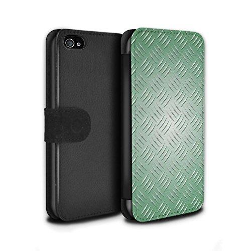 Stuff4 Coque/Etui/Housse Cuir PU Case/Cover pour Apple iPhone 4/4S / Argent Design / Motif en Métal en Relief Collection Vert