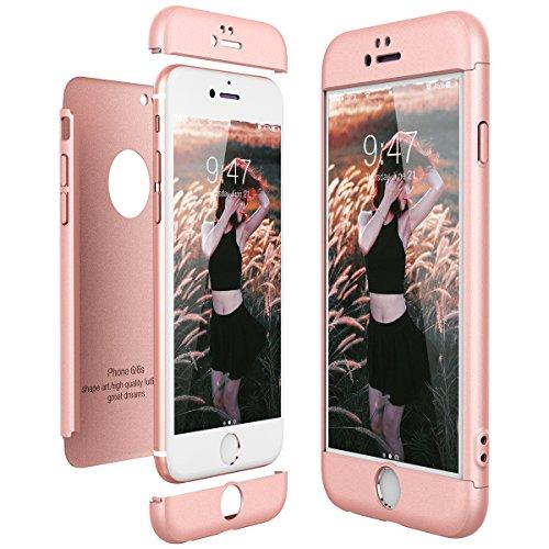 CE-Link Funda para Apple iPhone 6 6S Rigida 360 Grados Integral, Carcasa iPhone 6 Silicona Snap On Diseño Antigolpes Choque Absorción, iPhone 6S Case Bumper 3 en 1 Estructura - Oro Rosa