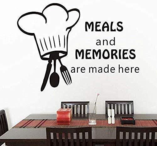 Repas et souvenirs sont fabriqués ici. Couverts et casseroles Cuisine Vinyle Sticker Mural Art Décoratifs Autocollants Vitres en Verre Cuisine Stickers 80x58cm