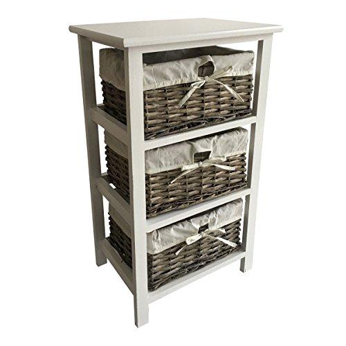 Charles Bentley Home Holz Storage Tower mit 3 Weidenkörben Boxen mit weißem Futter - Schrank und Schubladen in grau (auch in weiß und natürlich) (Schrank-schublade-storage Box)