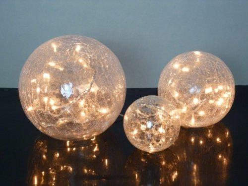 Glas LED Kugelleuchte Fiona Kugellampe 3x Weihnachts-Dekoration Durchmesser 10+15+20cm Dekorationsleuchte Tischleuchte Crashglas Weihnachten