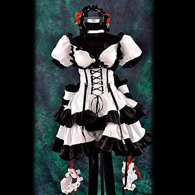 Haruhi Suzumiya schwarzen und weißen Cosplay,Maßgeschneiderte,Größe XL: Höhe 170cm-180cm (Yuki Nagato Cosplay Kostüm)