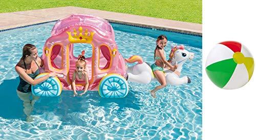 Bavaria Home Style Collection Aufblasbares Reittier Wasserspielzeug Prinzessin Pferd mit Kutsche Wagen XL ab 3 Jahren Spielzeug für Pool Kinderzimmer