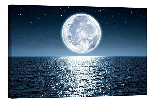 Cuadro en Lienzo Startoshop, fotoluminiscente lienzo,pinturas murales, Decoración, Luna sobre las aguas, Categoría cosmos, 80 cm x 120 cm