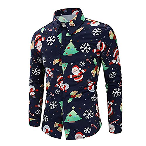 Blusa navideña para Hombre, Hombre muñeco de Nieve Estampado Camisa de Navidad de Manga Larga Blusa Superior Delgada Absolute (S, Armada )