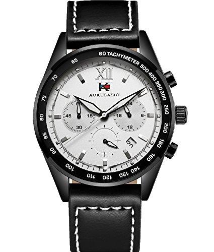 AOKULASIC Mens Fashion Chronograph Quartz Waterproof Wrist Watch with Particular Multi-Function Sub-Dials (Black White)