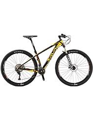 """SAVA DECK 700 27.5""""/29"""" Bicicleta de Montaña de Fibra de Carbono MTB 22-Velocidad Shimano 8000 DEORE XT Hard Tail Bicicleta Manituo Horquilla de Suspensión Mountain Bike Maxxis Neumáticos (Negro & Amarillo, 29"""")"""